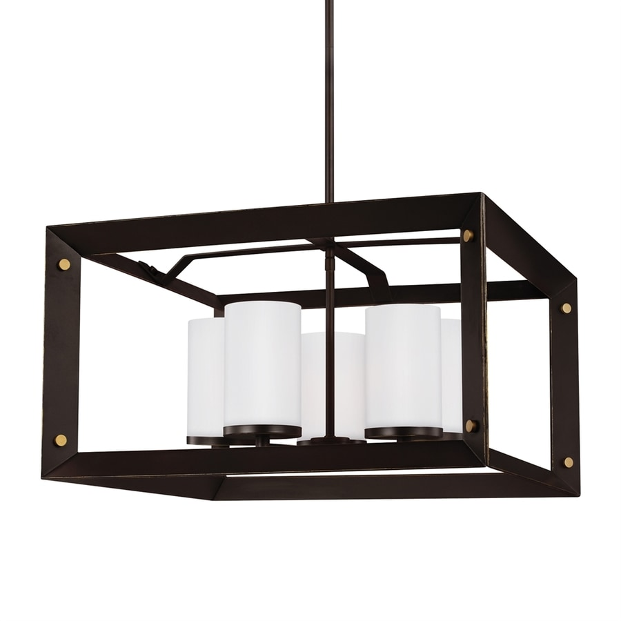 Sea Gull Lighting Chatauqua 22.25-in 5-Light Antique bronze Etched Glass Cage Chandelier ENERGY STAR
