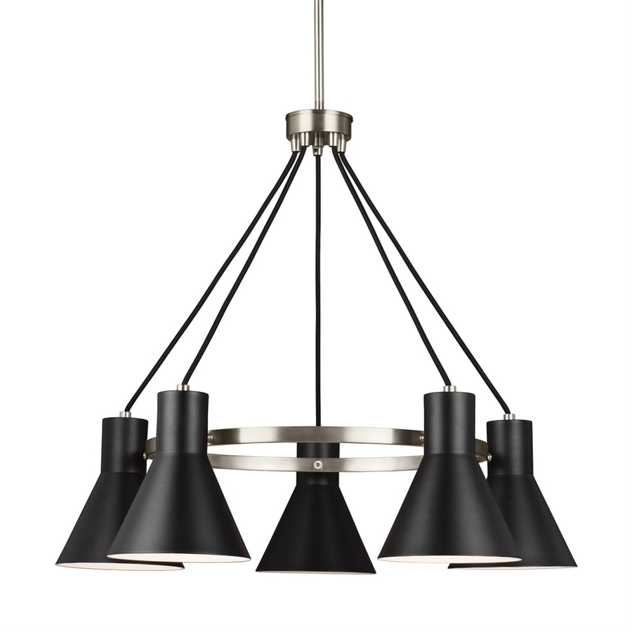 Sea Gull Lighting Towner 29-in 5-Light Brushed nickel Industrial Shaded Chandelier