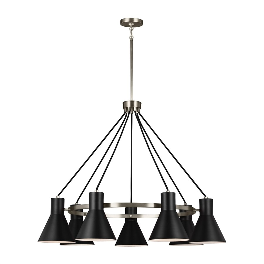 Sea Gull Lighting Towner 35-in 7-Light Brushed nickel Industrial Shaded Chandelier