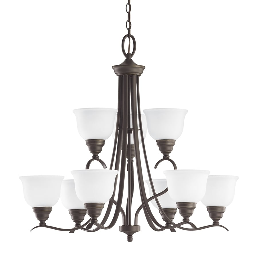 Sea Gull Lighting Wheaton 31-in 9-Light Heirloom bronze Etched Glass Tiered Chandelier ENERGY STAR
