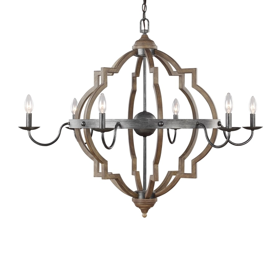 Sea Gull Lighting Socorro 40-in 6-Light Stardust Country Cottage Candle Chandelier