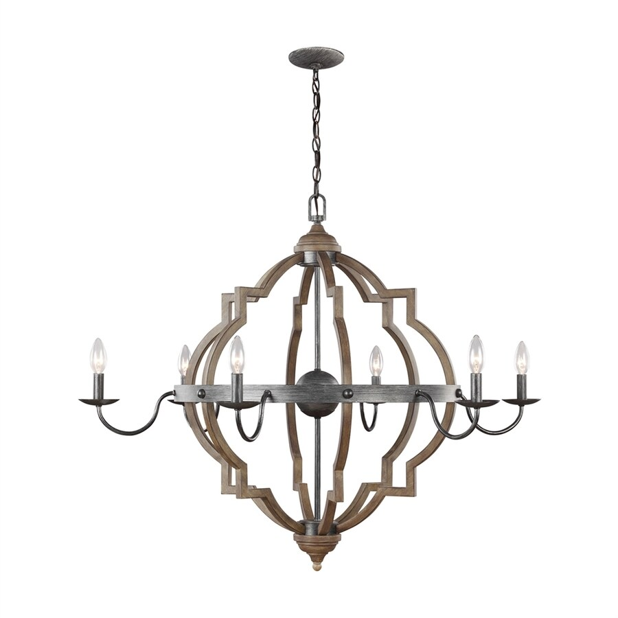 Sea Gull Lighting Socorro 40-in 6-Light Stardust Country Cottage Candle Chandelier ENERGY STAR