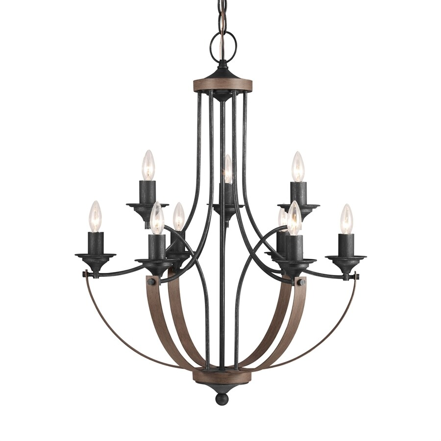 Sea Gull Lighting Corbeille 27-in 9-Light Stardust Country Cottage Candle Chandelier ENERGY STAR