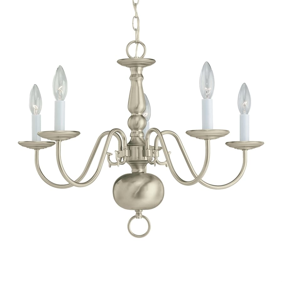 Sea Gull Lighting Traditional 23.5-in 5-Light Brushed nickel Williamsburg Candle Chandelier ENERGY STAR