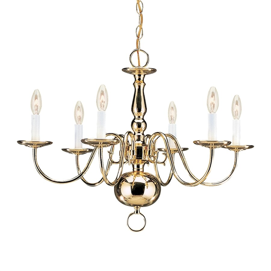 Sea Gull Lighting Traditional 23.5-in 6-Light Polished brass Williamsburg Candle Chandelier ENERGY STAR