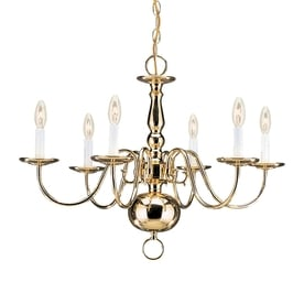 Shop chandeliers at lowesforpros sea gull lighting traditional 235 in 6 light polished brass williamsburg candle chandelier energy aloadofball Image collections