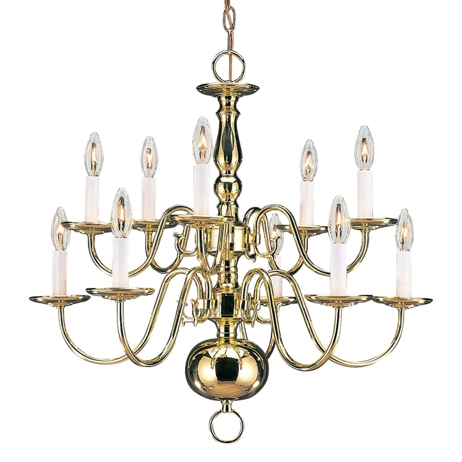 Sea Gull Lighting Traditional 23.5-in 10-Light Polished brass Williamsburg Candle Chandelier ENERGY STAR