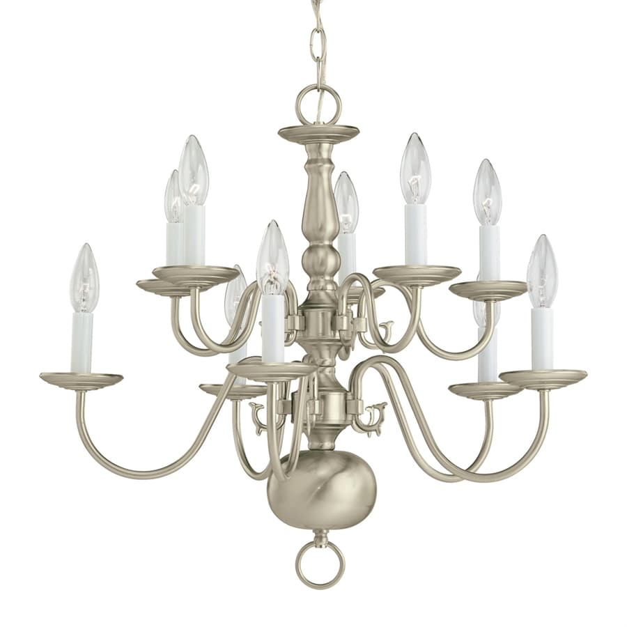 Sea Gull Lighting Traditional 23.5-in 10-Light Brushed nickel Williamsburg Candle Chandelier ENERGY STAR