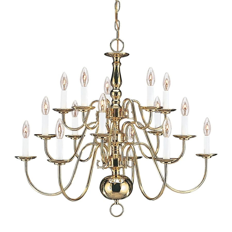 Sea Gull Lighting Traditional 30.5-in 15-Light Polished brass Williamsburg Candle Chandelier ENERGY STAR