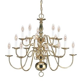 Shop traditional brass chandeliers at lowes sea gull lighting traditional 305 in 15 light polished brass williamsburg candle chandelier energy aloadofball Image collections
