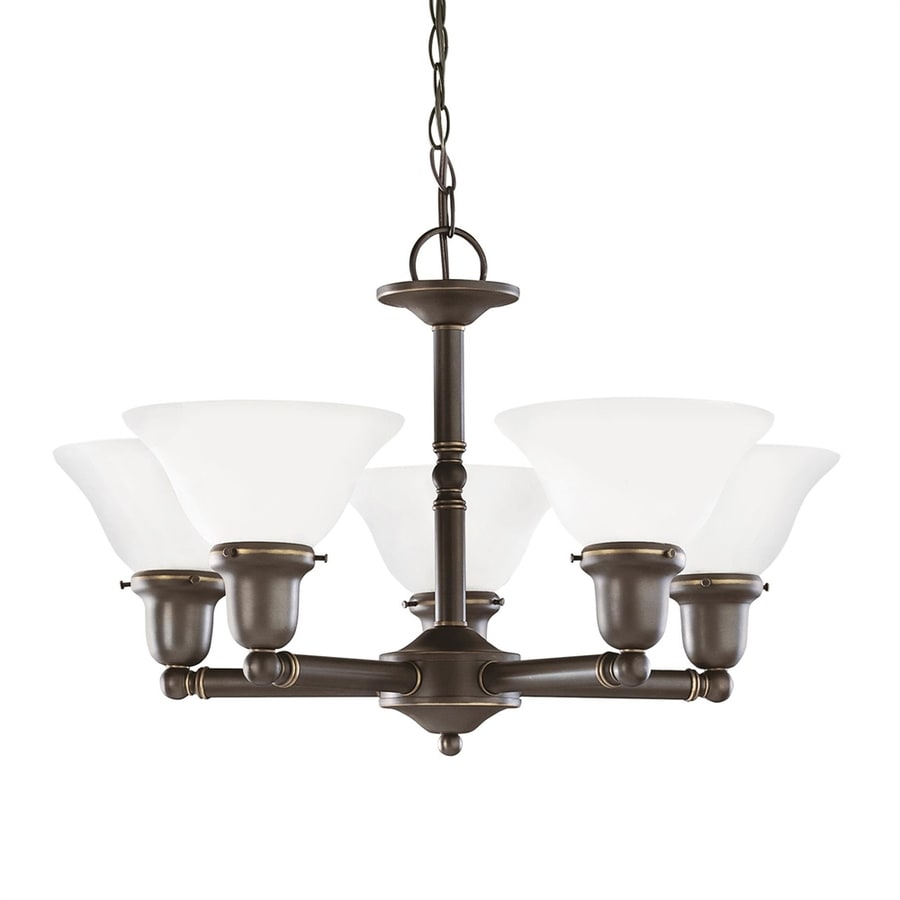 Sea Gull Lighting Sussex 24-in 5-Light Heirloom bronze Etched Glass Shaded Chandelier ENERGY STAR