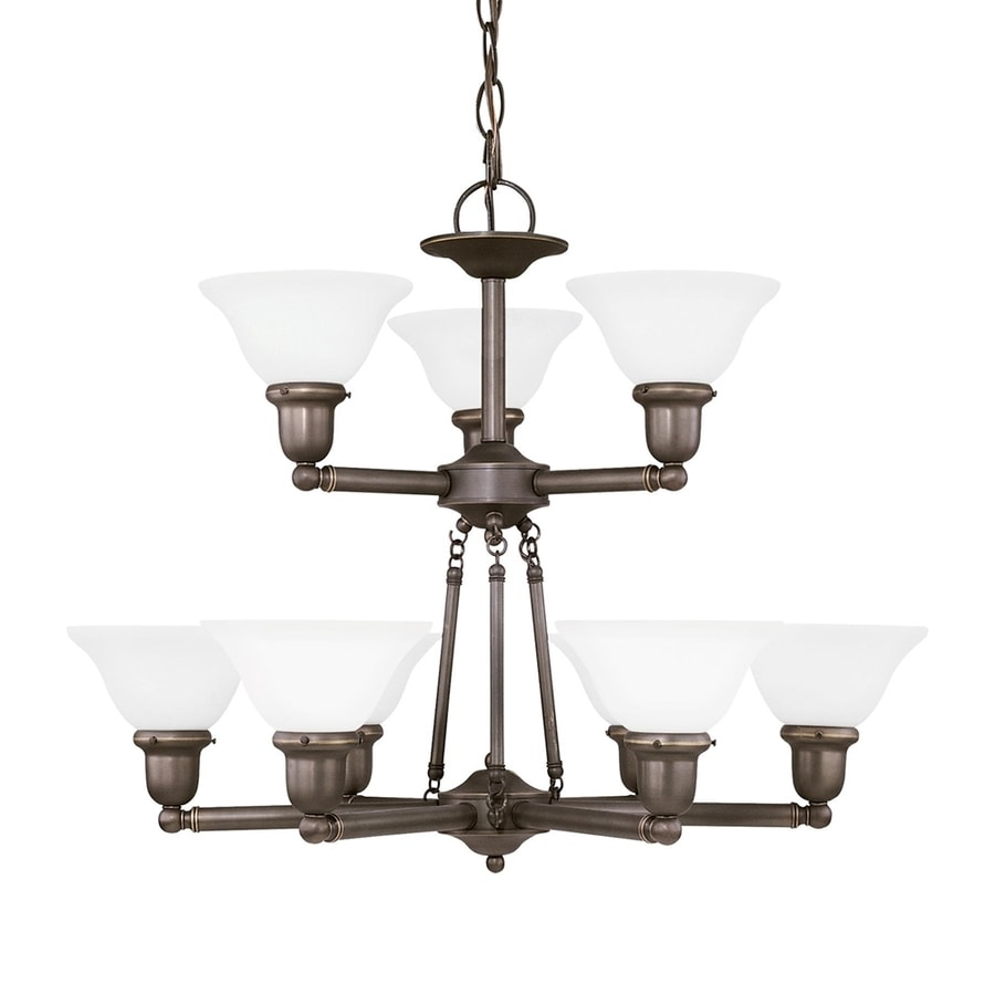 Sea Gull Lighting Sussex 30-in 9-Light Heirloom bronze Etched Glass Tiered Chandelier ENERGY STAR