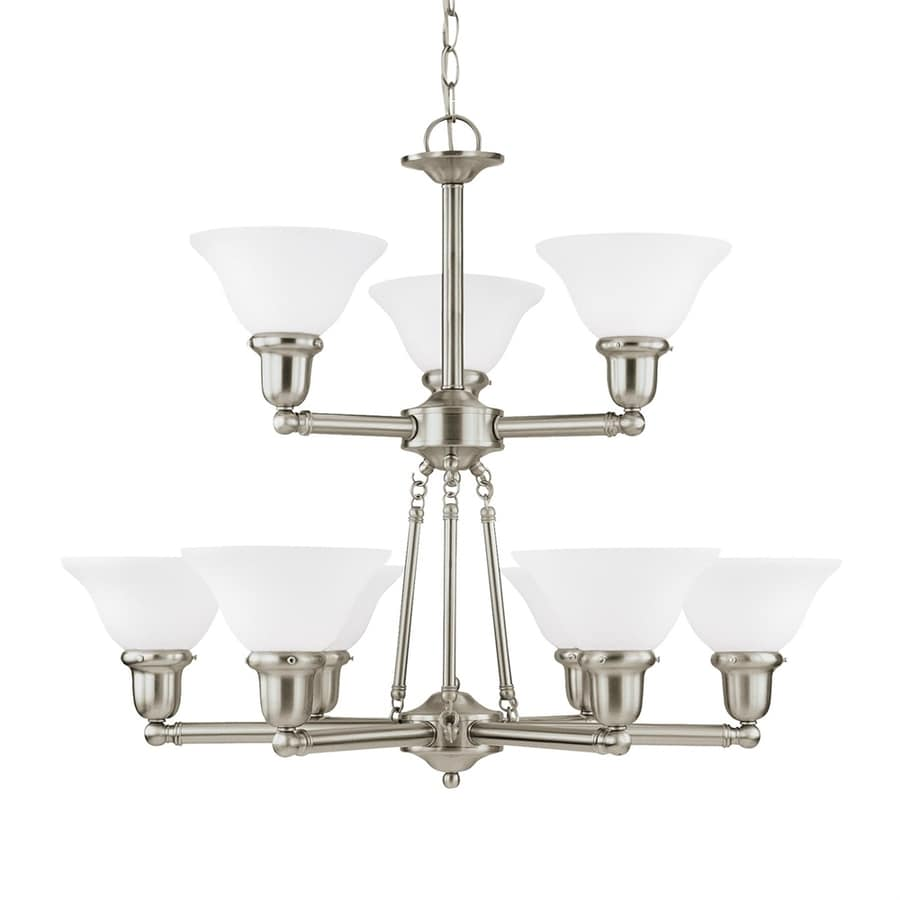 Sea Gull Lighting Sussex 30-in 9-Light Brushed nickel Tiered Chandelier ENERGY STAR