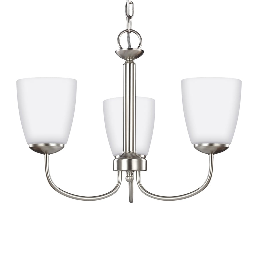 Sea Gull Lighting Bannock 19.625-in 3-Light Brushed nickel Etched Glass Shaded Chandelier