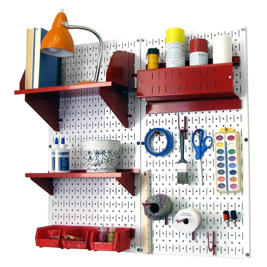 Wall Control 32-in W x 32-in H White/Red Steel Garage Storage System