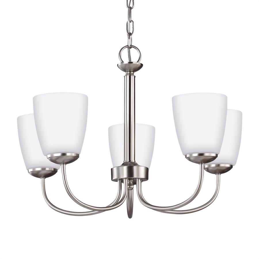 Sea Gull Lighting Bannock 21.875-in 5-Light Brushed nickel Etched Glass Shaded Chandelier ENERGY STAR