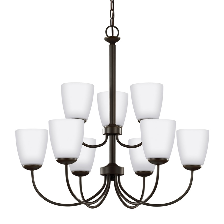 Shop sea gull lighting bannock 27875 in 9 light heirloom bronze sea gull lighting bannock 27875 in 9 light heirloom bronze etched glass shaded chandelier arubaitofo Images