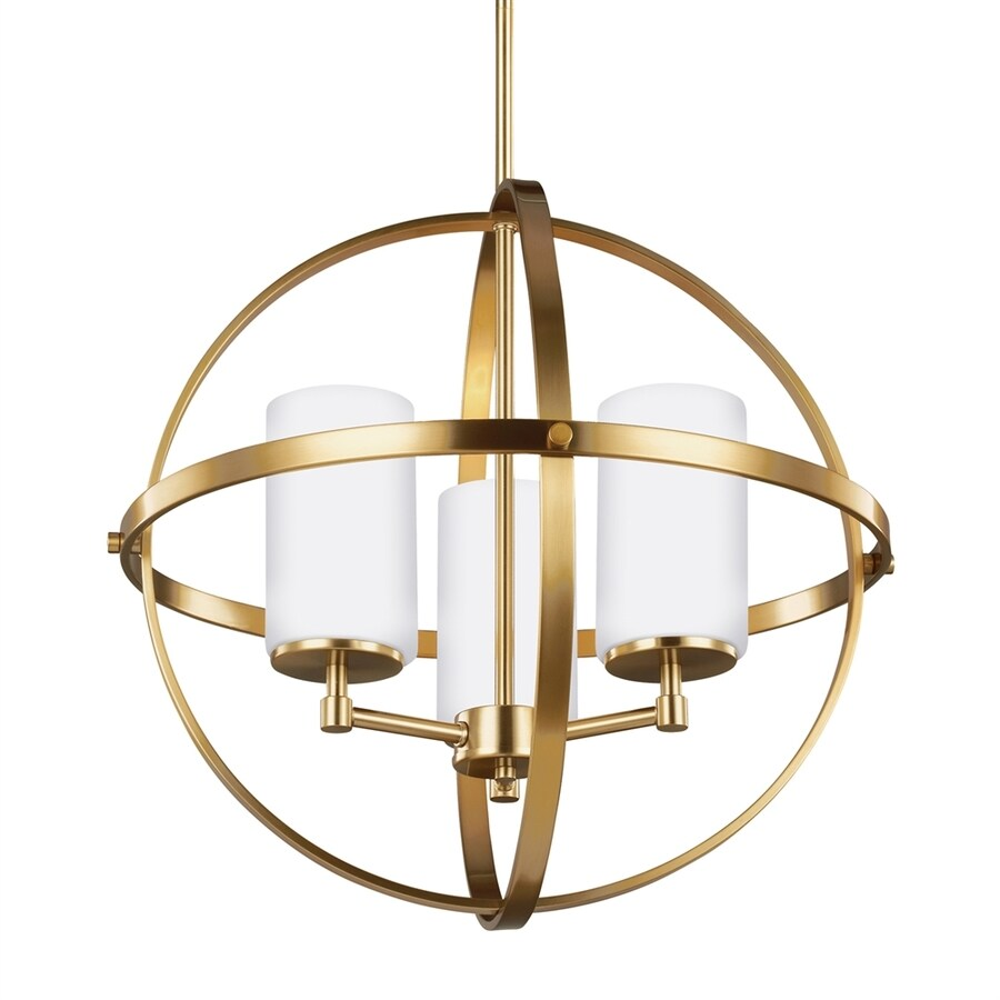 Sea Gull Lighting Alturas 19-in 3-Light Satin bronze Etched Glass Globe Chandelier
