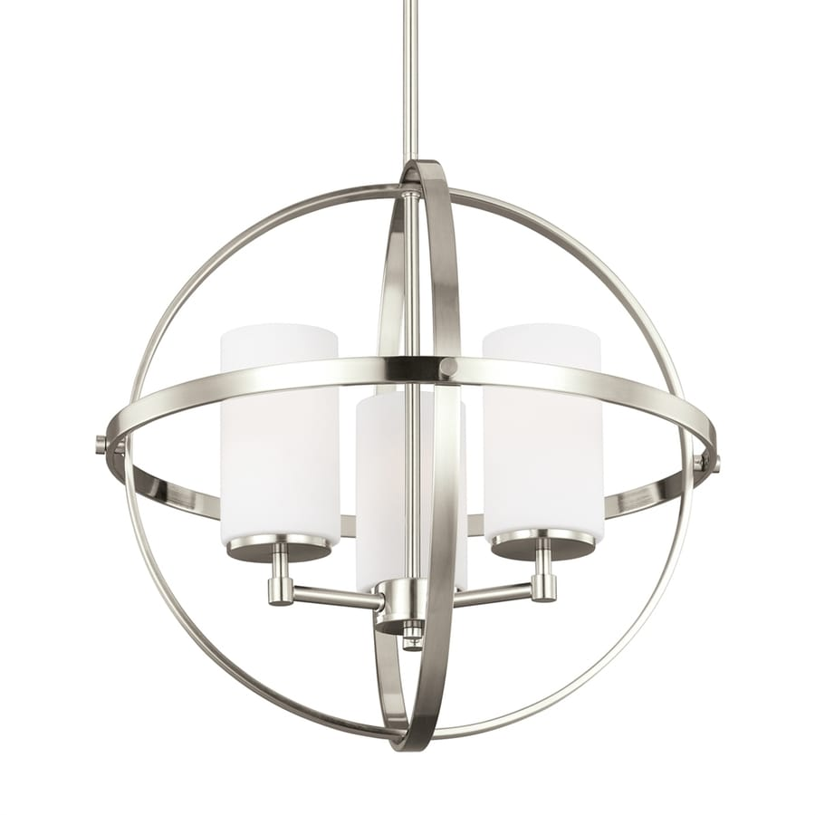 Sea Gull Lighting Alturas 19 In 3 Light Brushed Nickel Etched Glass Globe Chandelier