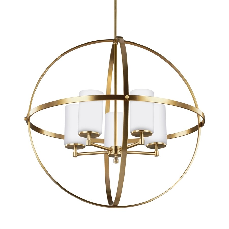 Sea Gull Lighting Alturas 27.25-in 5-Light Satin bronze Etched Glass Globe Chandelier