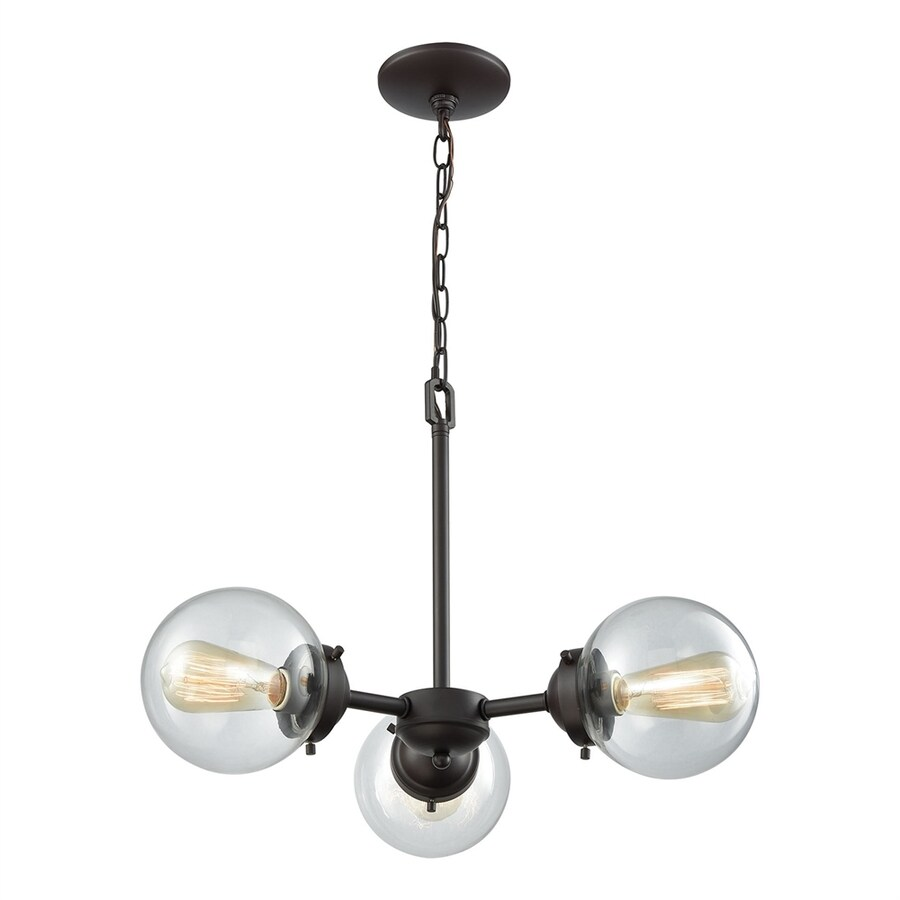 Thomas Lighting Beckett 22-in 3-Light Oil-Rubbed bronze Industrial Clear Glass Globe Chandelier