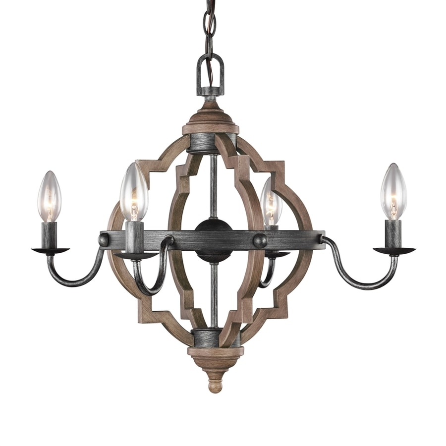 Sea Gull Lighting Socorro 22-in 4-Light Heirloom bronze Country Cottage Candle Chandelier ENERGY STAR