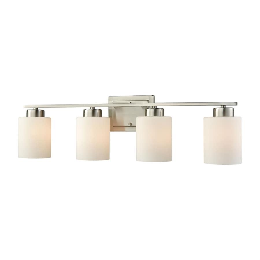 Thomas Lighting Summit Place 4-Light 9-in Brushed nickel Cylinder Vanity Light