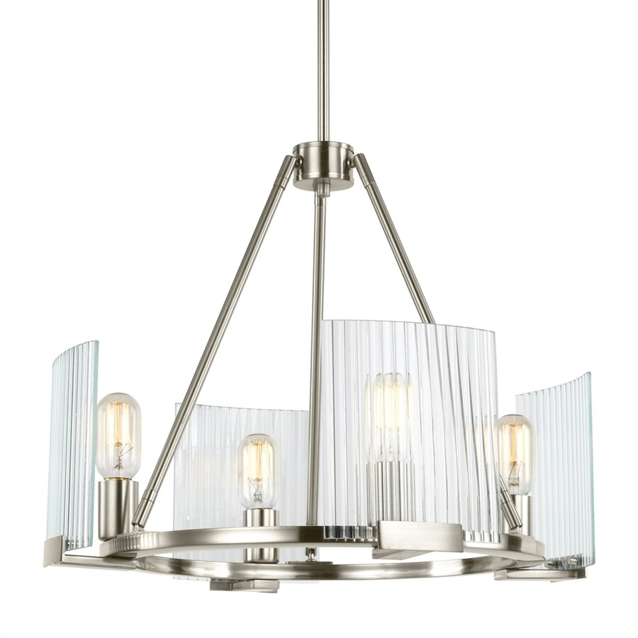 Sea Gull Lighting Storey 20.625-in 4-Light Brushed nickel Ribbed Glass Shaded Chandelier
