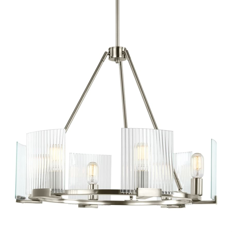 Sea Gull Lighting Storey 26.25-in 6-Light Brushed nickel Ribbed Glass Shaded Chandelier