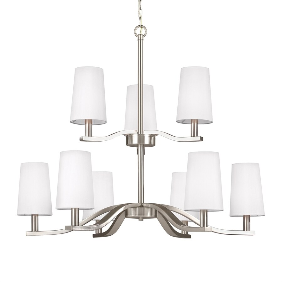 Sea Gull Lighting Nance 31.5-in 9-Light Brushed nickel Tiered Chandelier