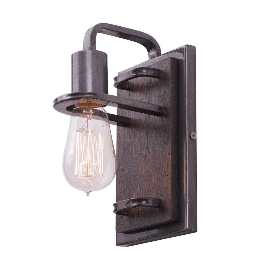 Varaluz Lofty 5-in W 1-Light Steel/Faux Zebrawood Vintage Arm Wall Sconce