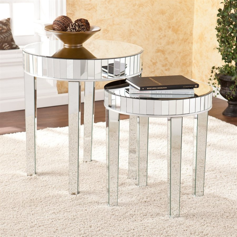 Boston Loft Furnishings Paulina 2-Piece Mirrored Accent Table Set
