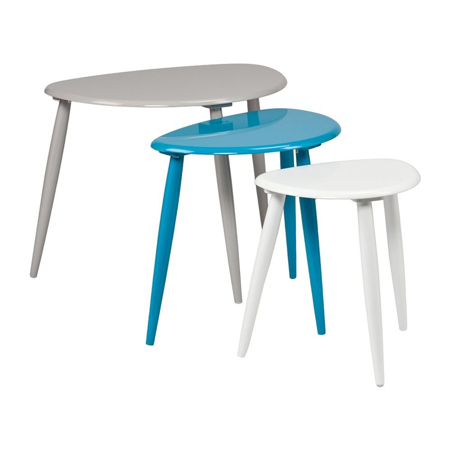 Boston Loft Furnishings Perry 3-Piece Gray/Blue/White Asian Hardwood Accent Table Set