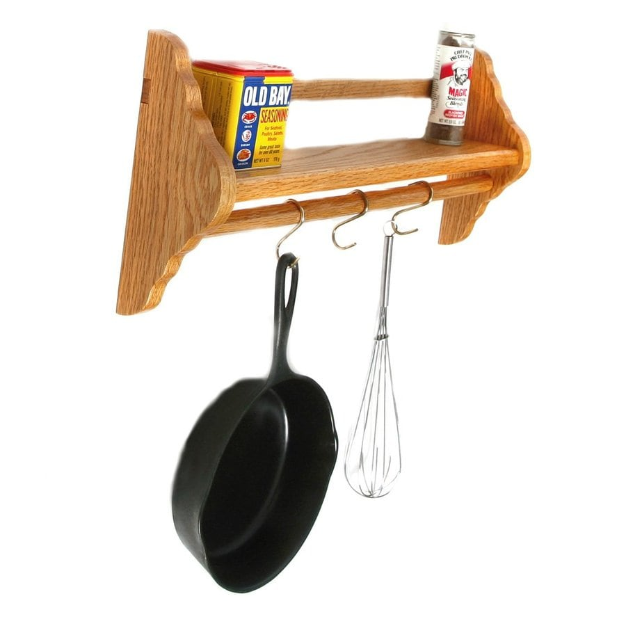 Laurel Highlands 22.5-in x 9-in Red Oak Shelf Pot Rack