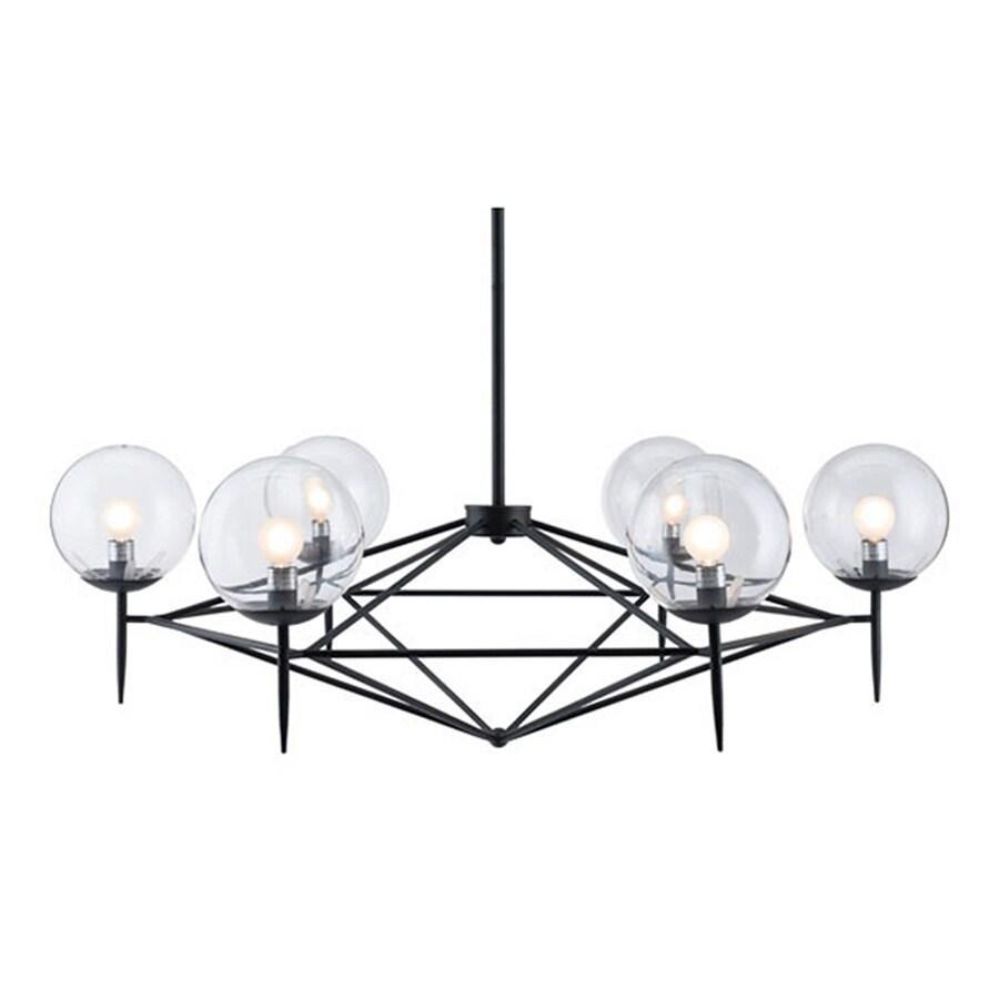 zuo modern lighting zuo modern carmine 6light matte black moderncontemporary clear glass abstract chandelier shop