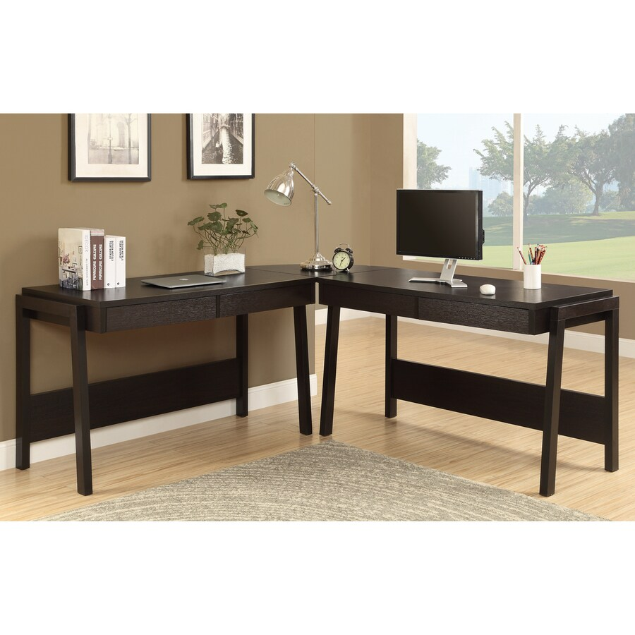 Monarch Specialties Contemporary Cappuccino L-shaped Desk