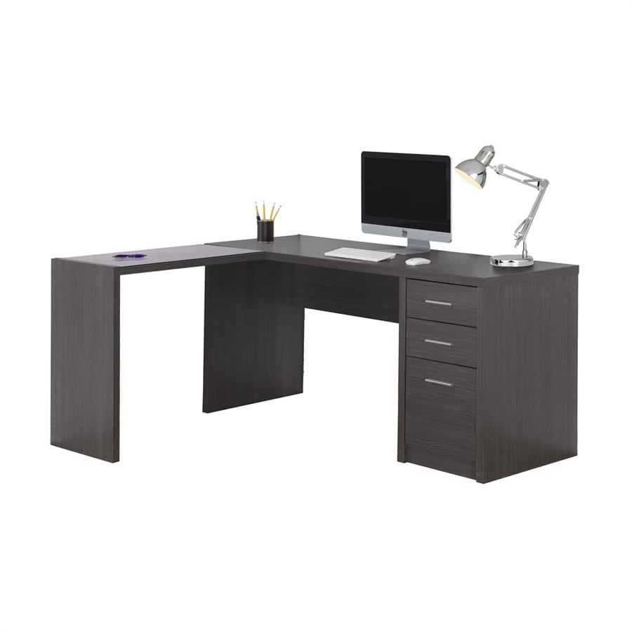 Monarch Specialties Contemporary Dark Grey L Shaped Desk