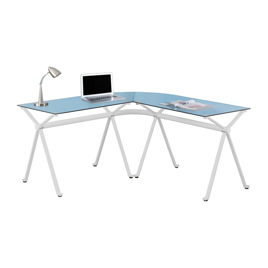 Monarch Specialties Contemporary Clear L-Shaped Desk