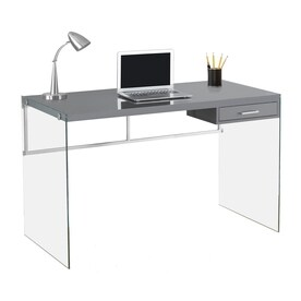 Monarch Specialties Contemporary Glossy Grey Writing Desk