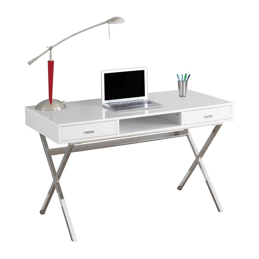 Monarch Specialties Contemporary Glossy White Writing Desk