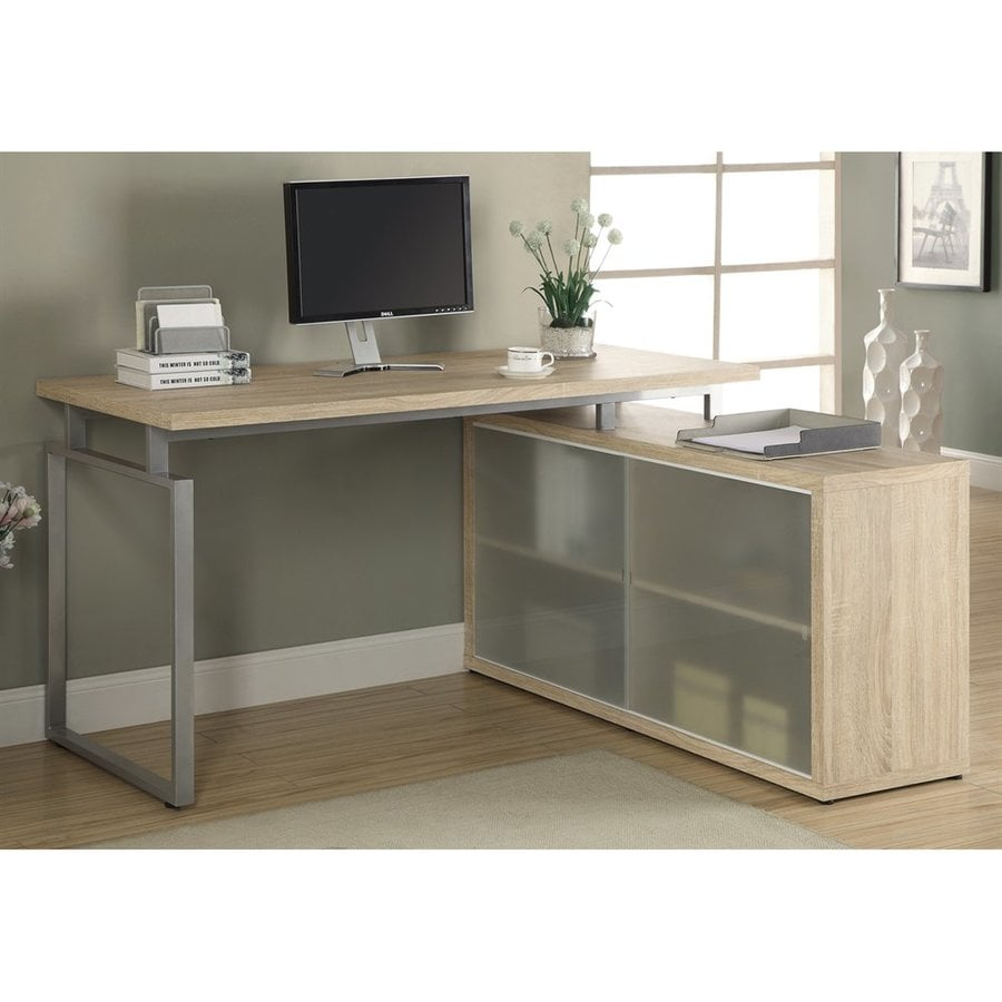 Monarch Specialties Contemporary Natural L-shaped Desk