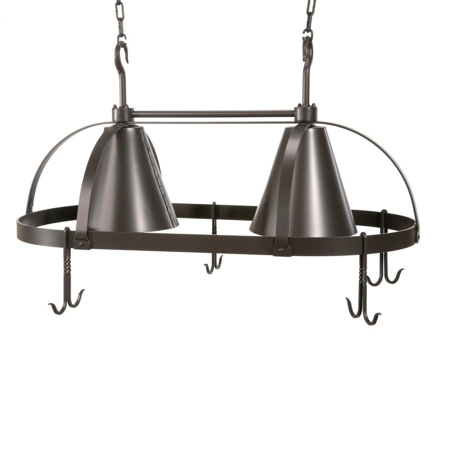 Stone County Ironworks Dutch 20-in W 2-Light Standard Black Hardwired Lighted Pot Rack with Metal Shade