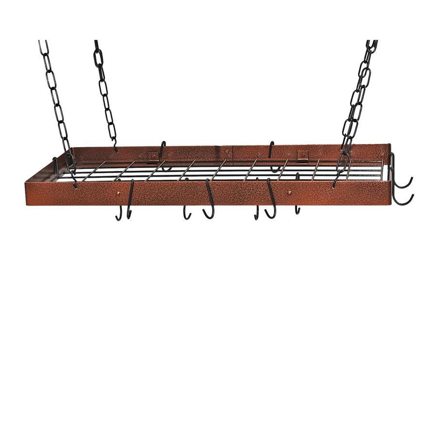 Rogar International 30-in x 15-in Hammered Copper Rectangular Pot Rack
