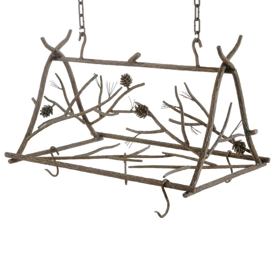 Stone County Ironworks 26-in x 18-in Rustic Bark Rectangular Pot Rack