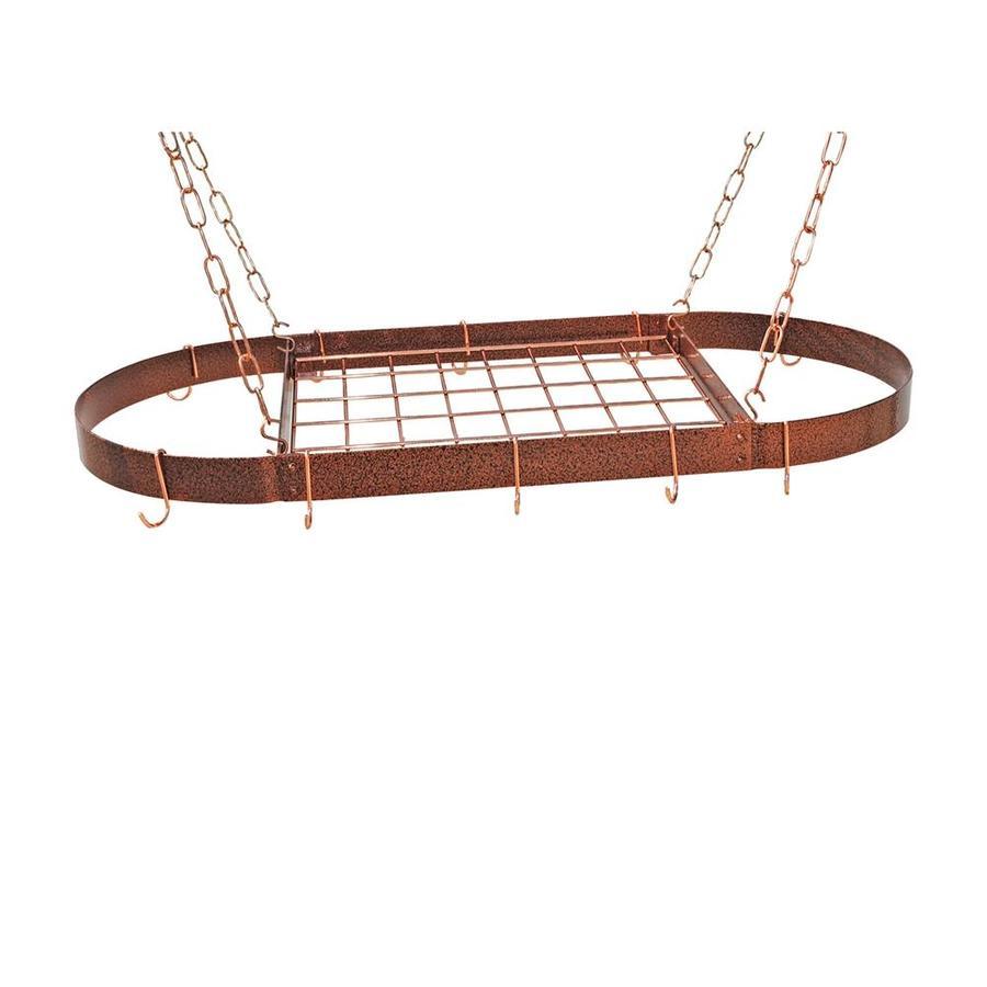 Rogar International 37.5-in x 18-in Hammered Copper Oval Pot Rack