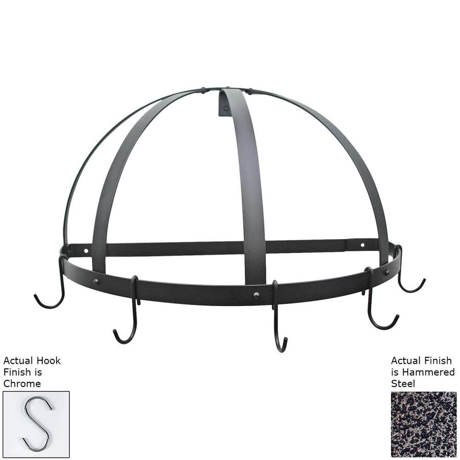 Rogar International 22.25-in x 11-in Hammered Steel Half-Dome Pot Rack
