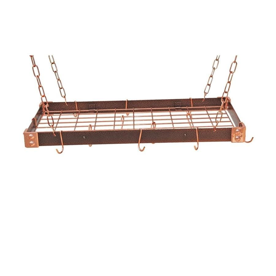 Rogar International 30-in x 15-in Hammered Copper Rectangular Pot Rack