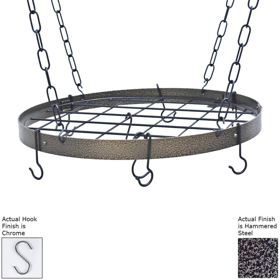Rogar International 20-in x 20-in Hammered Steel Round Pot Rack