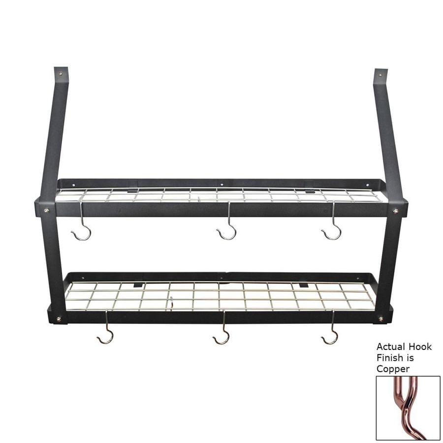 Rogar International 35-in x 8.5-in Black Double Shelf Pot Rack