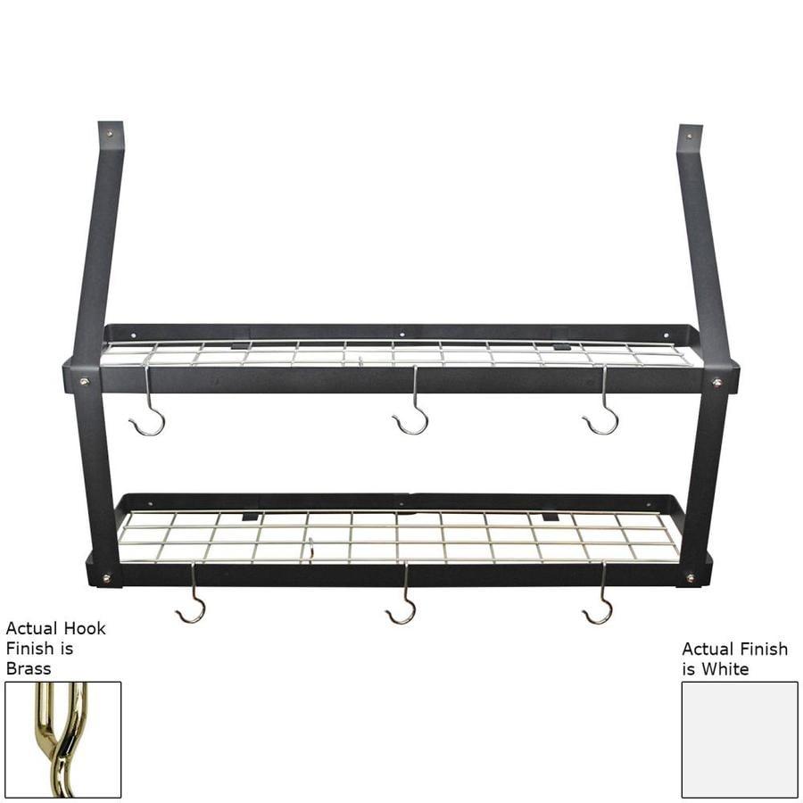 Rogar International 35-in x 8.5-in White Double Shelf Pot Rack